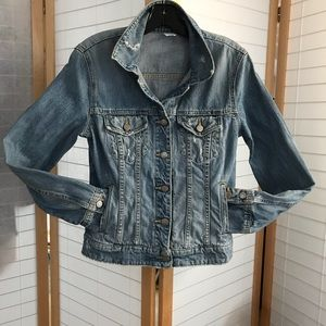 J. Crew denim jacket distressed 100% cotton Small
